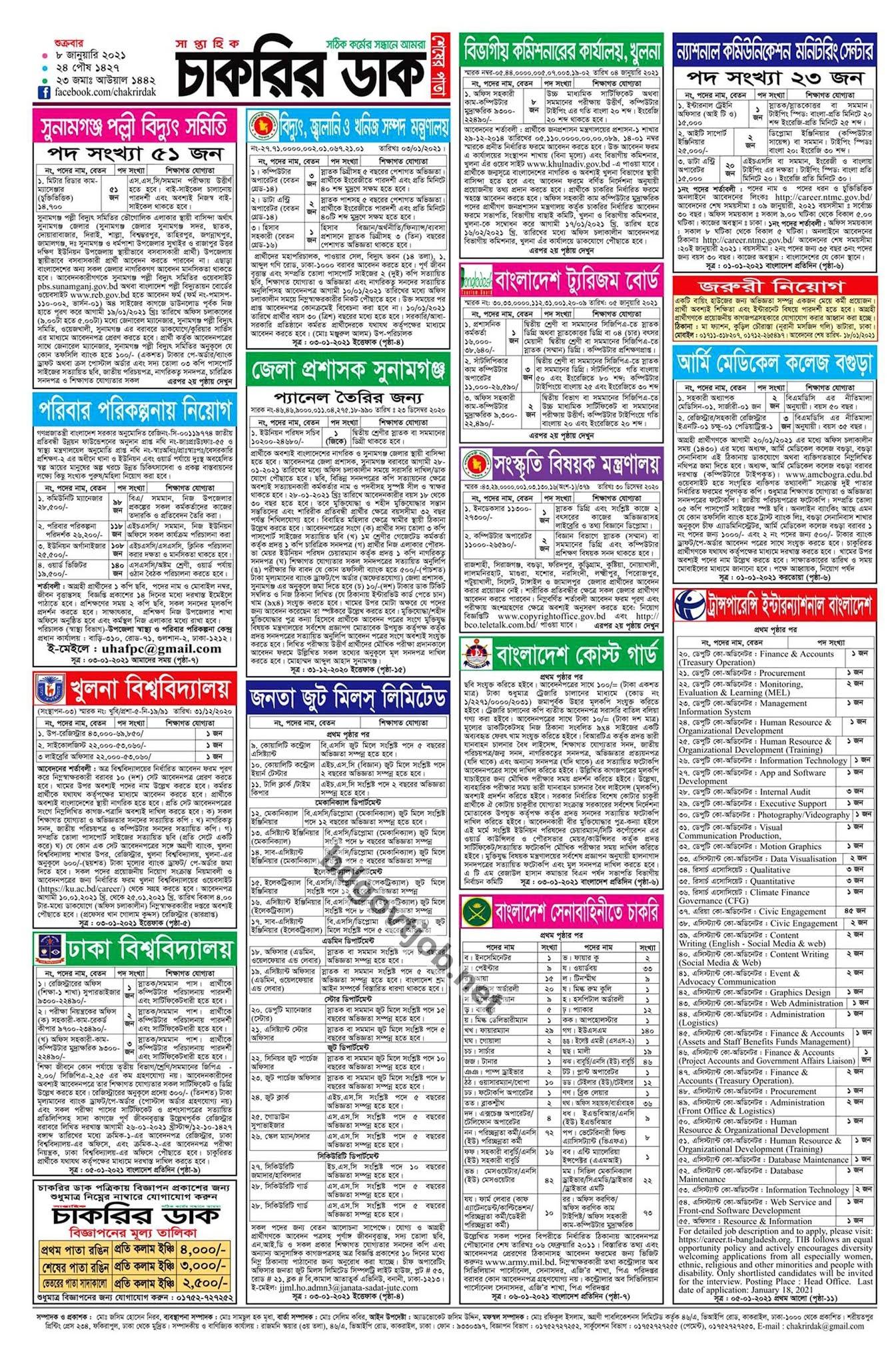 saptahik chakrir dak potrika 15 january 2021 - সাপ্তাহিক চাকরির ডাক পত্রিকা ১৫ জানুয়ারি ২০২১