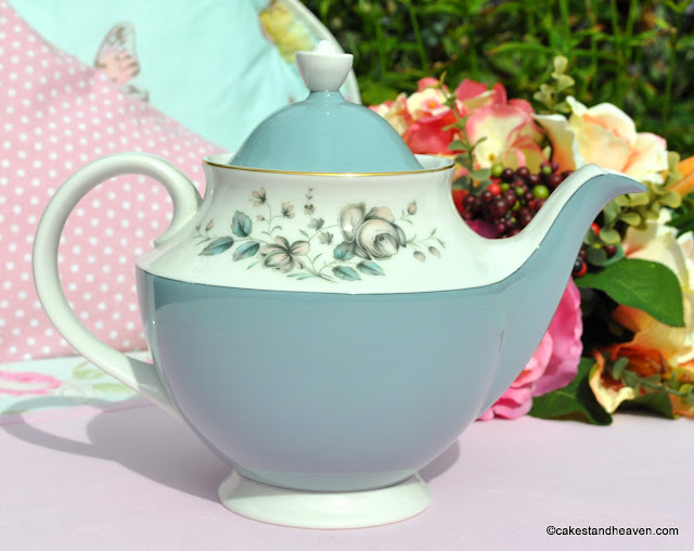 Large Wedgwood Blue and White Floral Teapot