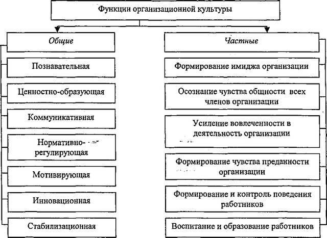 Рис. 20. Основные общие и частные функции организационной культуры