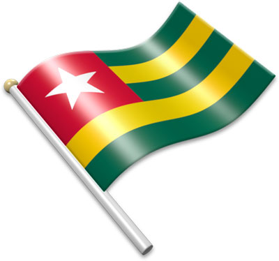 The Togolese flag on a flagpole clipart image