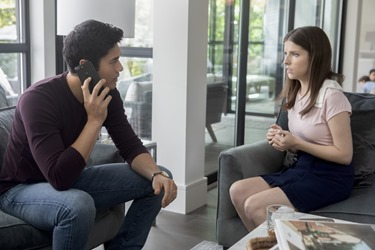 "Henry Golding as ""Sean"" and Anna Kendrick as ""Stephanie"" and Blake Lively as 'Emily' in A SIMPLE FAVOR. Photo by Peter Iovino."
