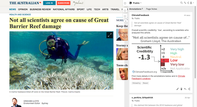 Screenshot of a story in 'The Australian' newspaper, titled 'Not all scientists agree on cause of Great Barrier Reef damage'. Scientists at Climate Feedback review the overall scientific credibility of the story to be 'low', with a majority of reviewers tagging the article as 'Biased' and 'Misleading'. Graphic: Climate Feedback