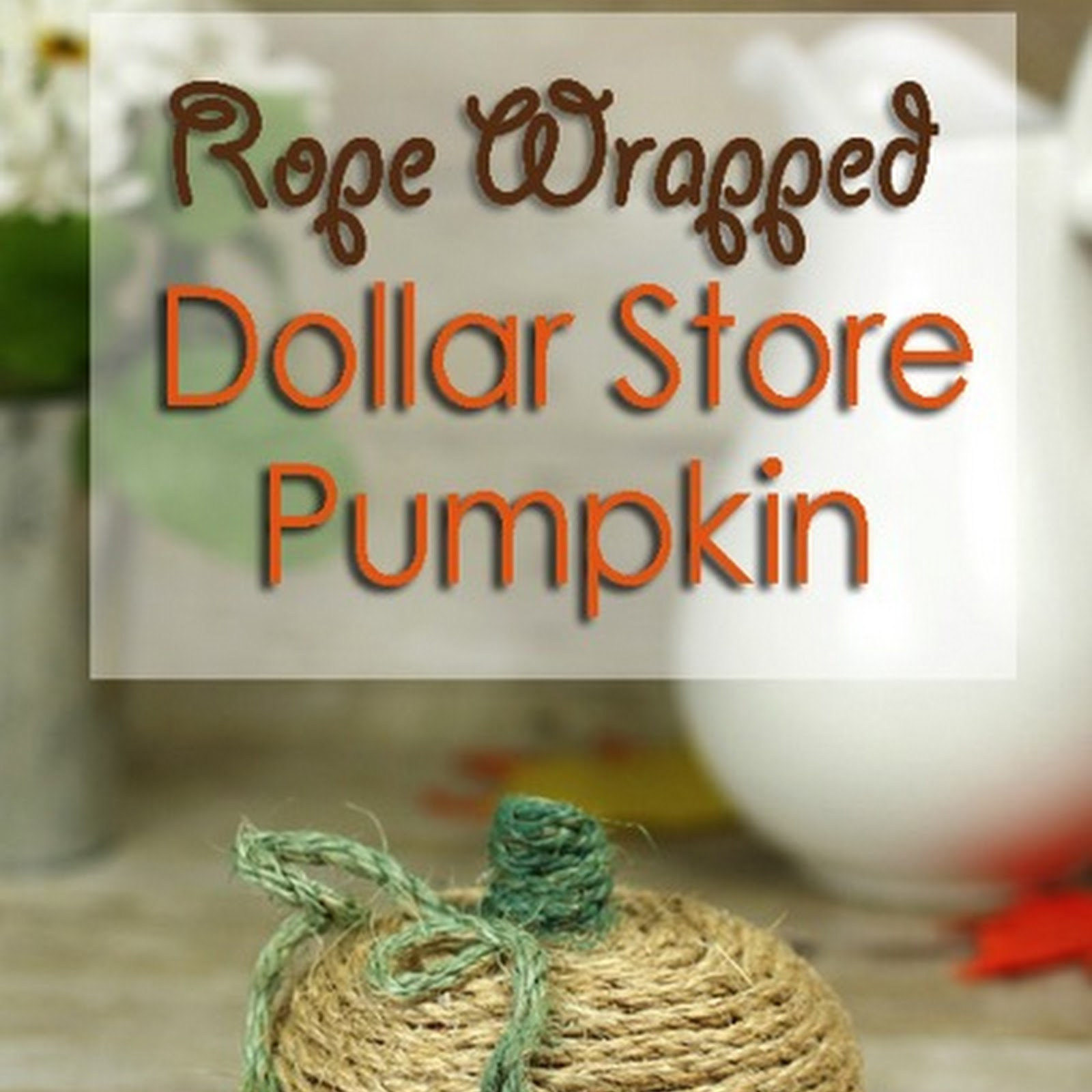 Rope Wrapped Dollar Store Pumpkin