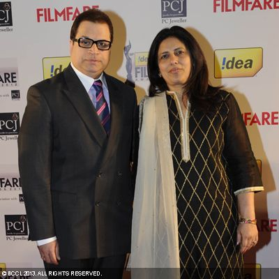 Ramesh Taurani arrived at the event with his wife in Mumbai.Click here for:<br />  58th Idea Filmfare Awards