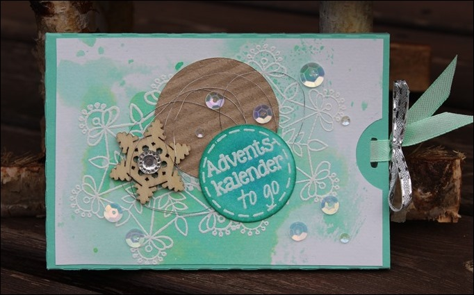 Adventskalender to go Stampin Up Aquarell Snowflake Mint Holz Schneeflocken Embellishments 02