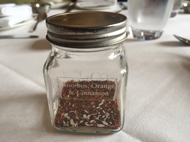 Rooibos, orange and cinnamon tea at the marriott