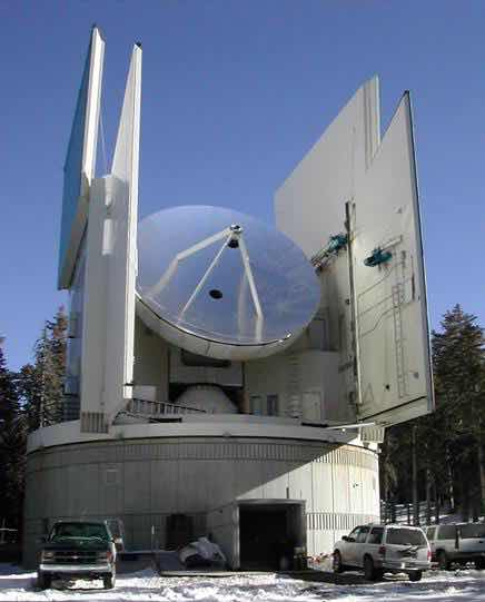 Sun millimeter Radio Telescope on Mt Graham, with protective doors open (Source: Wikipedia)