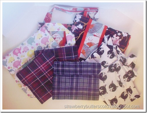 Sewing lots of differnt pouches using leftover fabric.  Great for easy diy gifts.