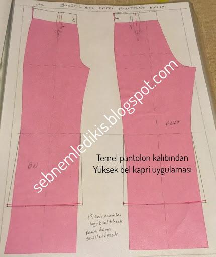 Temel pantolon kalıbından Yüksel bel kapri uygulaması
