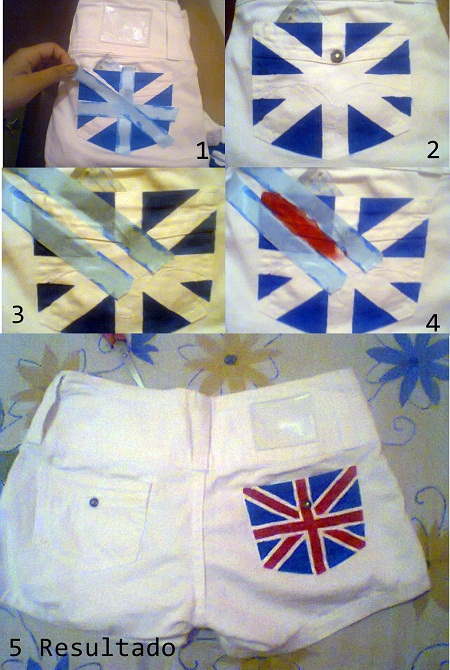 Customizando short com a bandeira do Reino Unido
