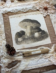 Mushroom Fabric and Lace Collage by Vintage with Laces