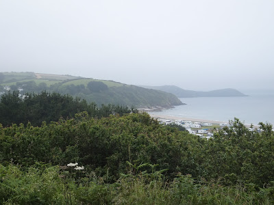 A rare scenic view on this foggy section, looking across to Black Head from the road out of Pentewan
