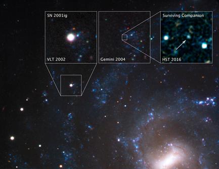 estrela sobrevivente na galáxia NGC 7424