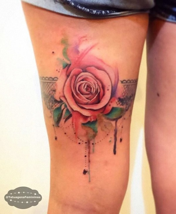 Garter-style-watercolor-rose-tattoo.