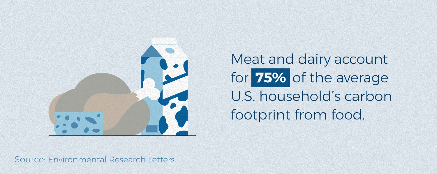 Meat and diary production accounts for 75% of household carbon footprint.