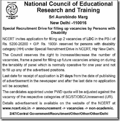 NCERT LDC Advertisement 2017 www.indgovtjobs.in