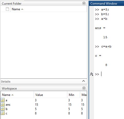 Basic Arithmatic Operation in MATLAB command window