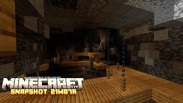 Ponte de mina abandonada e caverna com Grimstone | Minecraft 1.17: Snapshot 21w07a