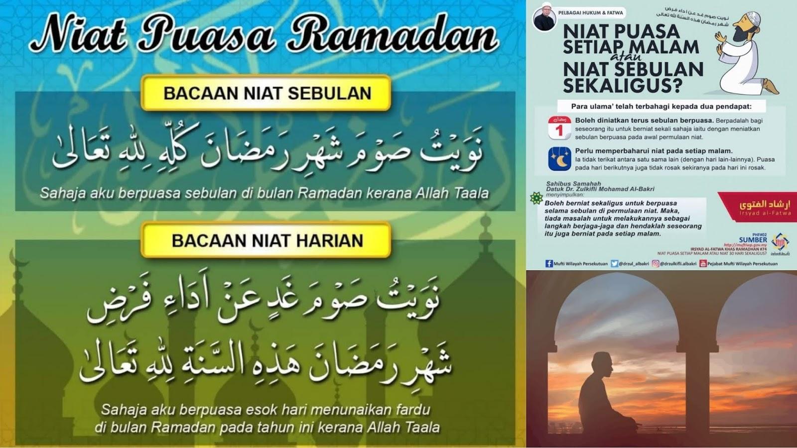 Niat Puasa Ramadhan Sebulan & Harian JAKIM Lafaz Arab / Rumi ...