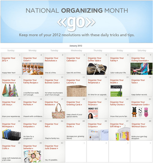 FranklinCovey National Organizing Month Calendar