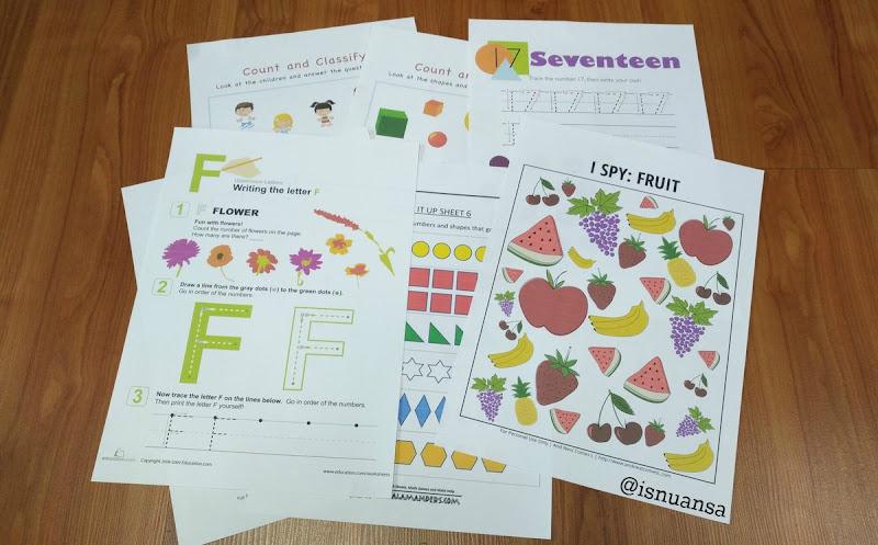 worksheets untuk anak prasekolah
