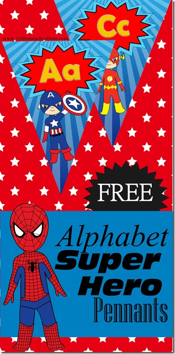 FREE Super Hero Alphabet Pennants - great tool for toddler, preschool, kindergarten, and 1st graders to reference for letters (way cooler than traditional alphabet wallcards!)