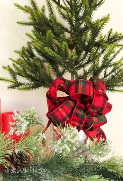 Red Plaid Bow On Mini Christmas Tree