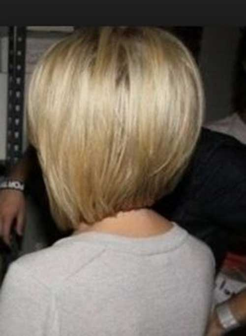 Short Blonde Shaggy Bob Haircut Back View Fashion Qe