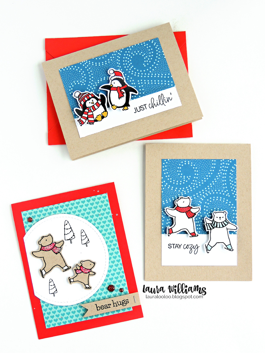 Here is a peek at another new stamp set that's perfect for winter cards, from Impression Obsession, available now. It's called Cool Yule, and I love the way these sets play off each other. The sentiments mix and match perfectly, and those bears are simple adorable. (You'll see more of these bears later in the month!)
