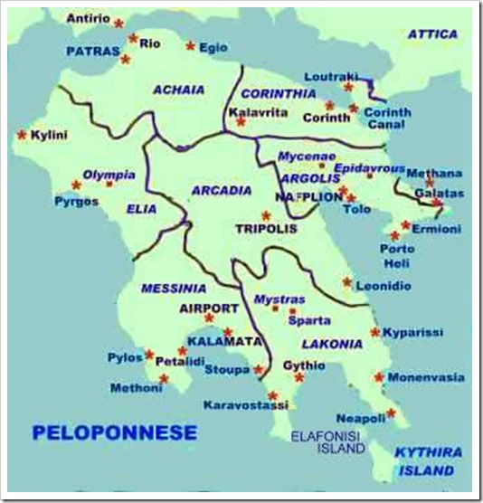 PELOPONNESE MAP BEST OF GREECE HOLIDAYS[1]