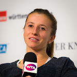 STUTTGART, GERMANY - APRIL 20 : Annika Beck talks to the media at the 2016 Porsche Tennis Grand Prix