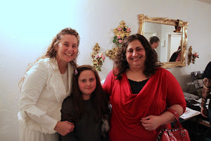 Susan fellowshipping with Emily Holloway and her daughter.