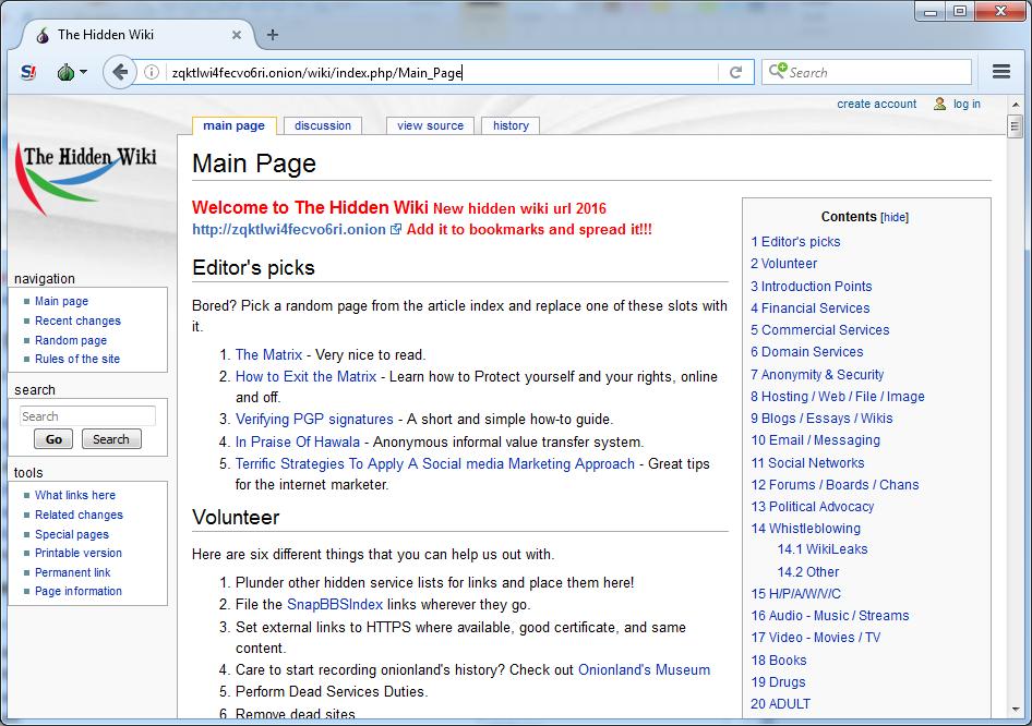 Darknet hidden wiki