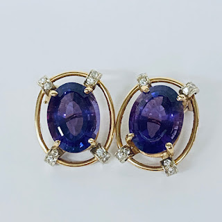 14K Gold, Diamond, and Amethyst Earrings