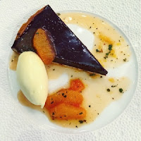 chocolate tart, spiced orange syrup