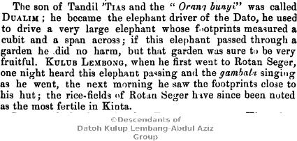 Legend of Toh Panglima Ghapar of Kinta