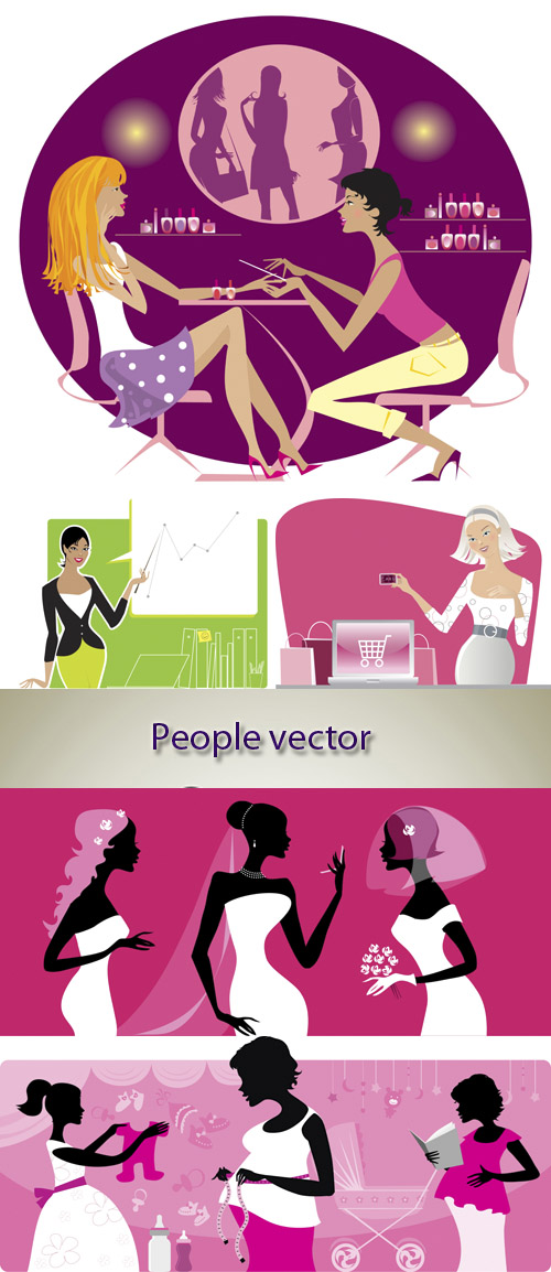 Stock: Girls, people vector