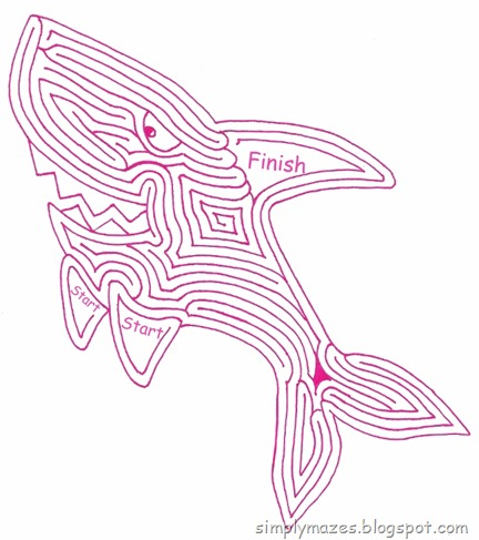 Maze Number 128: Coloring Book Shark. A printable pink animal maze.