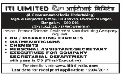 ITI Limited Recruitment 2017 | Various Post: ~ : Vibrant