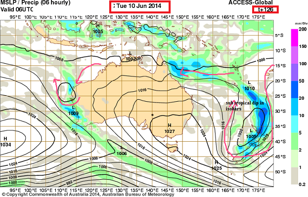 10th june 2014 Sub tropical low NZ