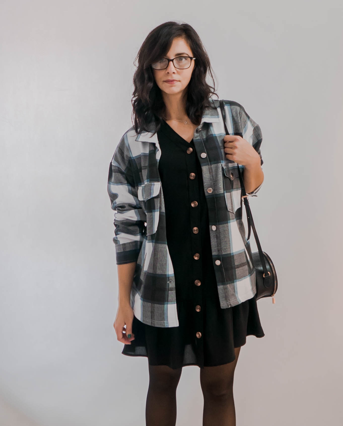 Navy Check Print Oversized Button Up Pocket Shacket - Isabella