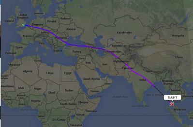 Route to Singapore