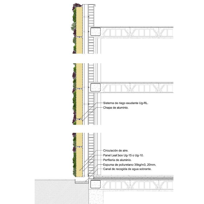 Detalle constructivo de jardín vertical sistema Leafbox.