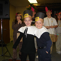 Josh and a school buddy during the Thanksgiving program at their school