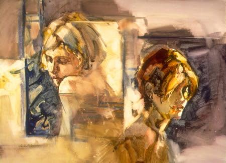 Kim and Megan. Artist Carla O'Connor, AWS-df/NWS