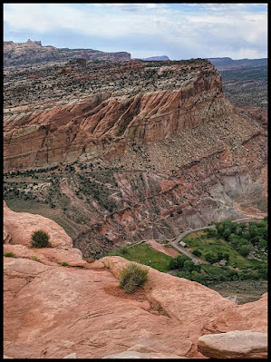 Rim Overlook Trail overlooking Fruita.  You can also see the CoHab Canyon Trail zigzag up the mountain.