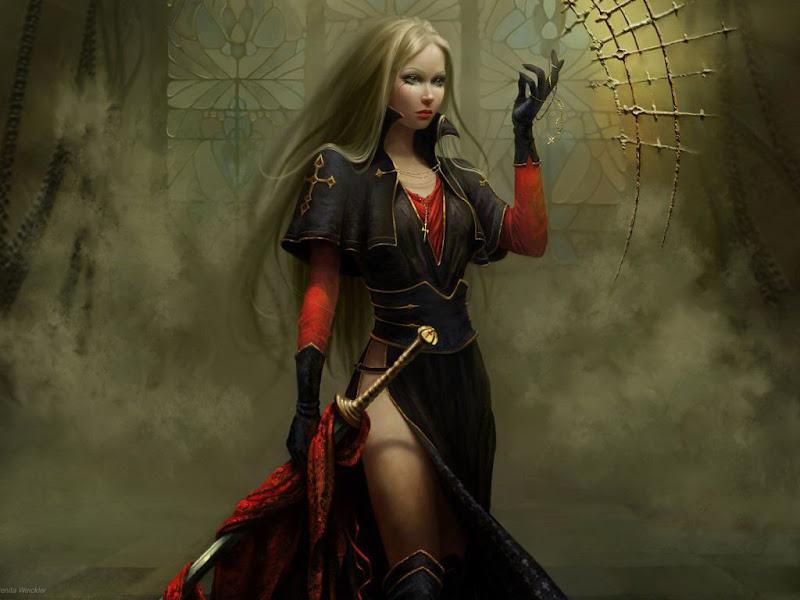 Girl Warrior In Red, Warriors