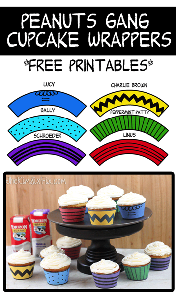 Peanuts Gang Cupcake Wrappers FREE PRINTABLES (and Silhouette Print and Cut File!)