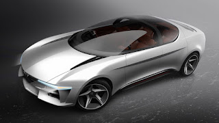 Sibylla electric vehicle with sliding windshield and gull-wing doors designed by Giugiaro