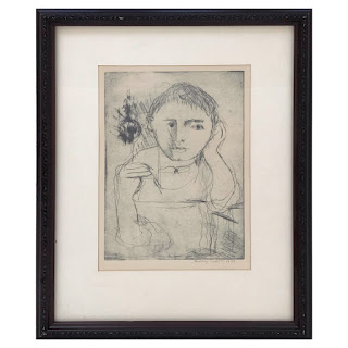 Dorothy Cohen Signed Seated Portrait Etching